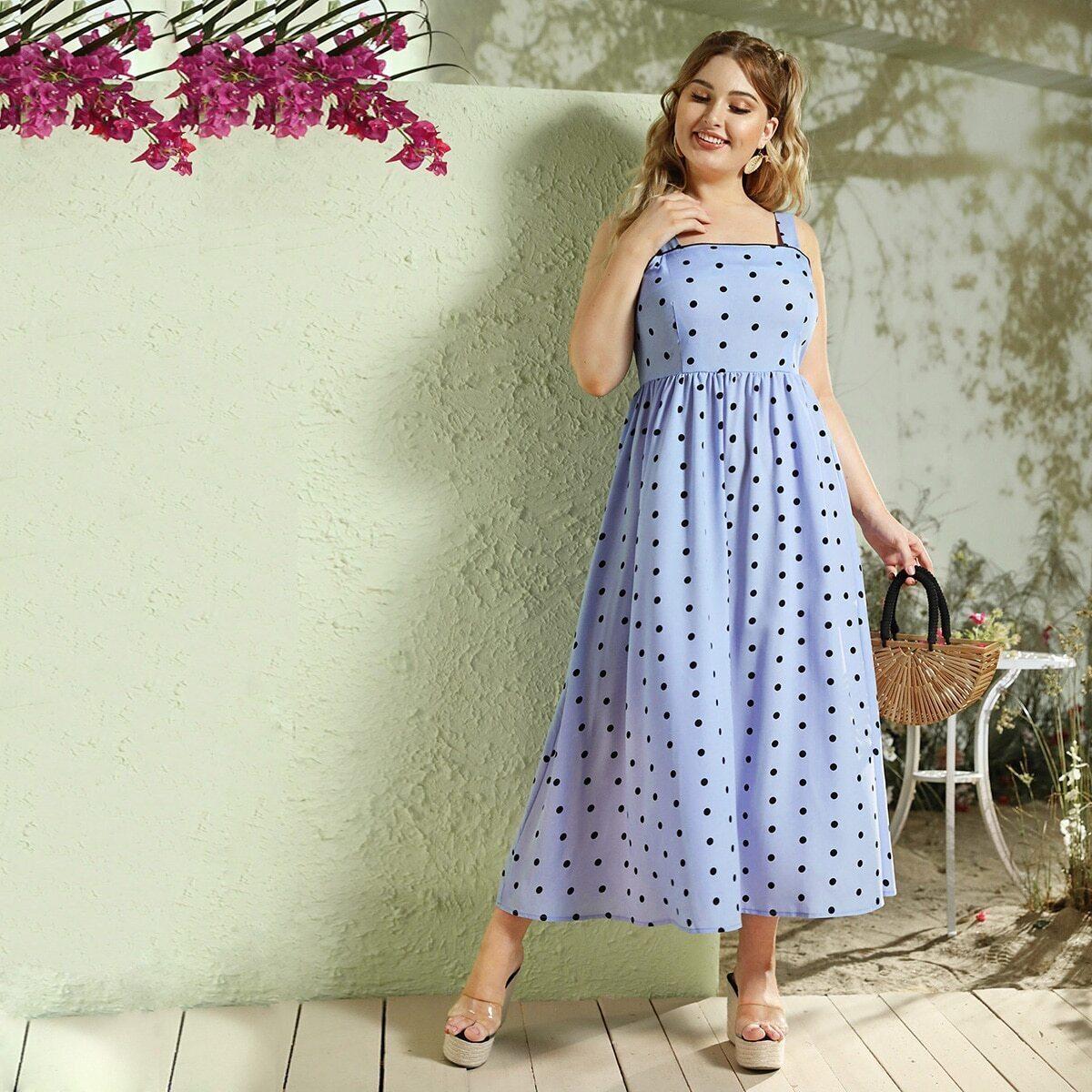 Cami Kleid in Übergröße mit Punkten Muster und Reißverschluss hinten