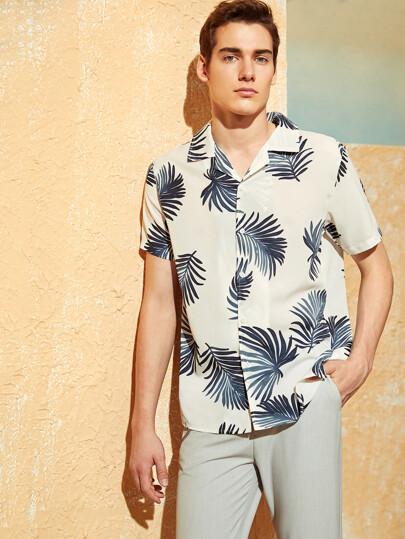 e65b07d34eaf9 Men Tropical Print Revere Collar Placket Shirt