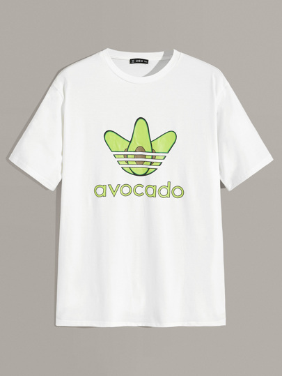 Guys Avocado and Letter Print Top
