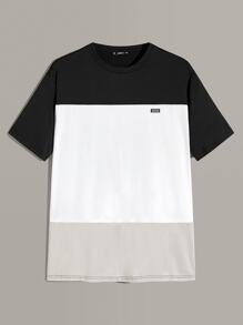 Men Patched Detail Colorblock Top