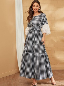 Embroidery Eyelet Cuff Belted Gingham Maxi Dress