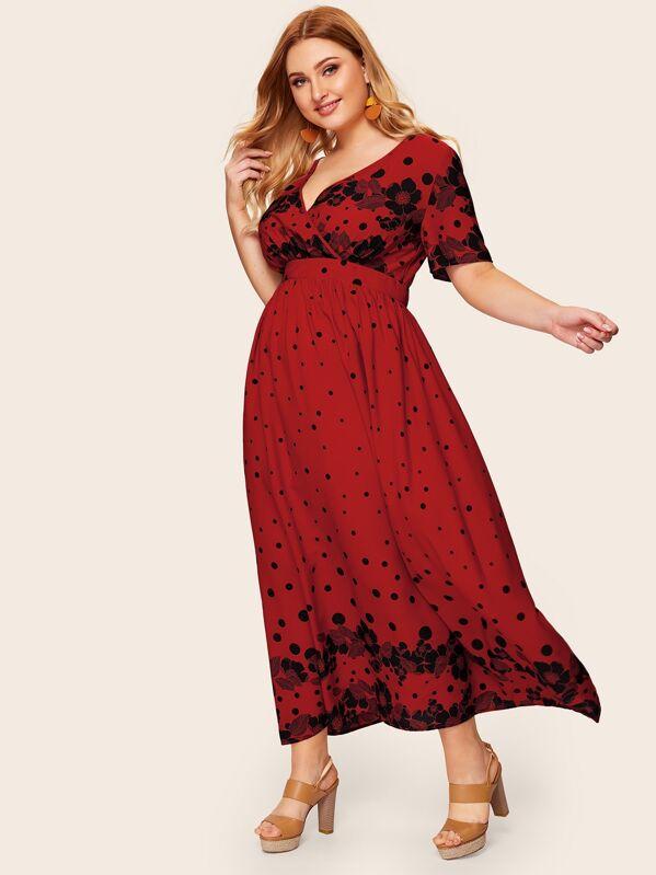 Plus Surplice Neck Polka Dot Floral Dress | SHEIN