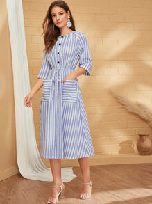 Striped Print Button Front Drawstring Waist Dress