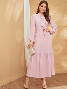 Solid Tie Neck Flippy Hem Dress