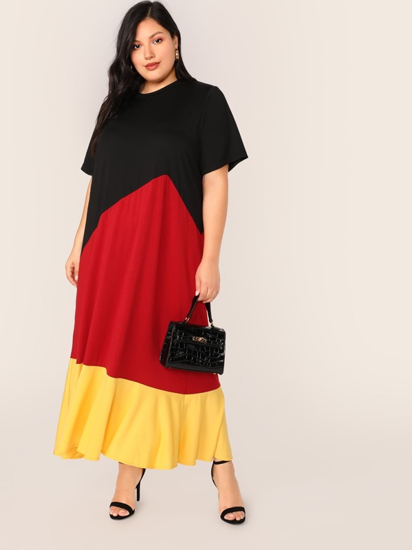 Plus Cut-and-sew Maxi Dress