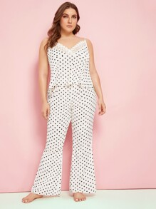 Plus Polka-dot Lace Trim Cami & Flare Leg Pants PJ Set