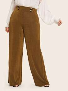 Plus Button Detail Palazzo Pants
