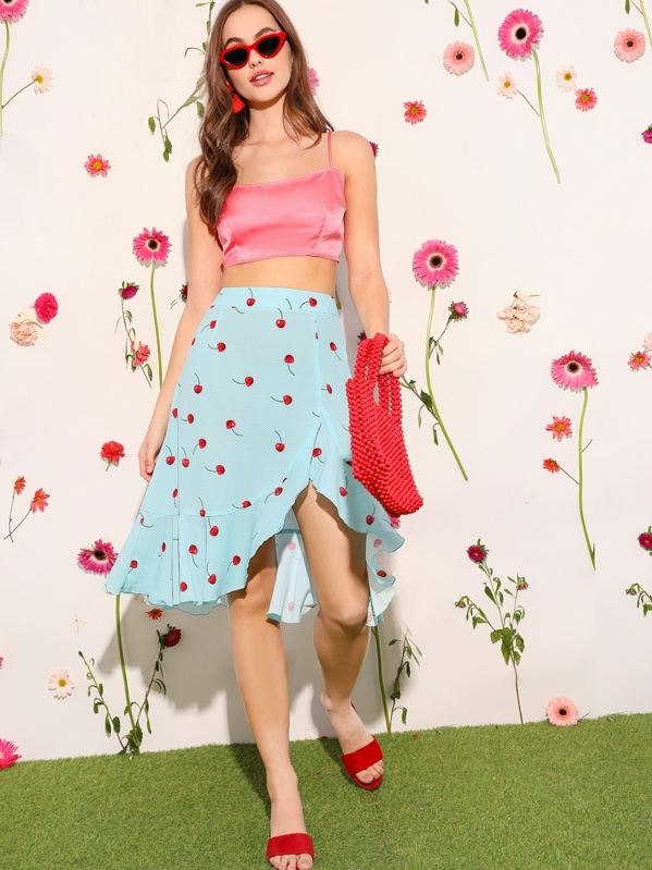 bb86cf294f49bf Cherry Print Asymmetrical & Flounce Hem Skirt | SHEIN UK