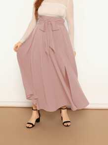 Plus High Waist Self Belted Split Maxi Skirt
