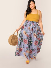Plus Paperbag Waist Striped and Floral Maxi Skirt