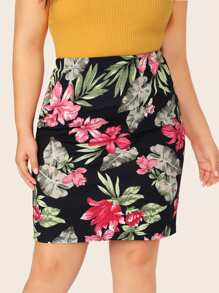 Plus Floral Print Pencil Skirt