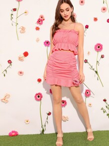 Ruffle Trim Cami Top and Crinkle Skirt Set