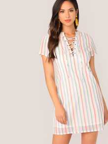 Lace Up Front Striped Dress