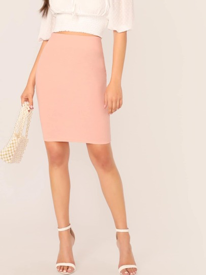 789539359d Solid Zip Back Bodycon Pencil Skirt | SHEIN UK