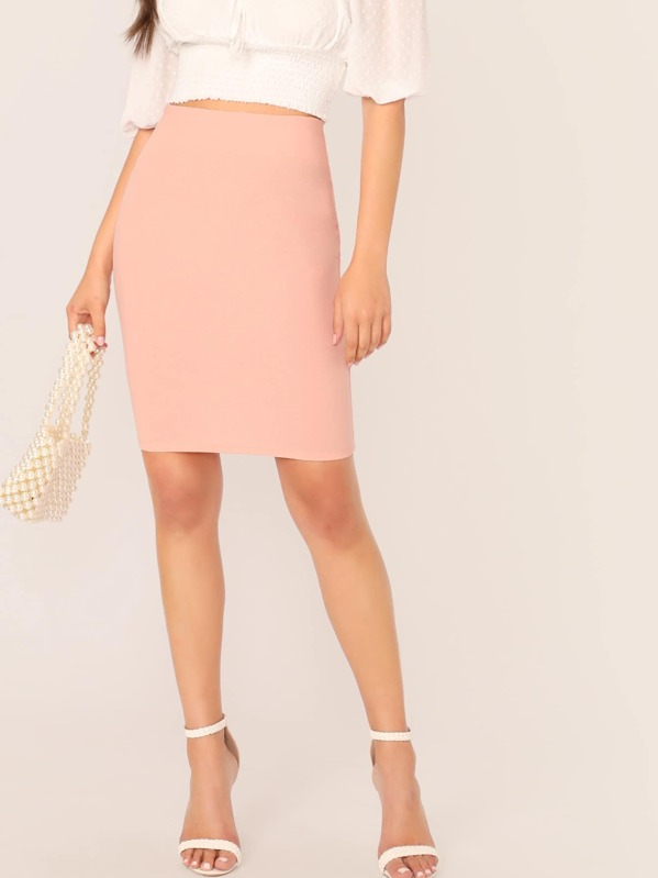 0ed3ac09ab99 Solid Zip Back Bodycon Pencil Skirt | SHEIN UK