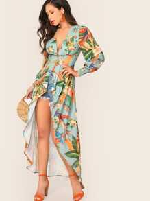 Shirred Cuff and Back Asymmetrical Hem Mixed Print Kimono