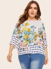 Plus Polka Dot & Flower Print Top