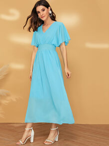 Solid Shirred Butterfly Sleeve Chiffon Dress