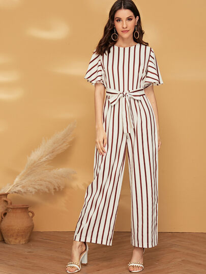 901b19911 Striped Knot Front Wide Leg Jumpsuit