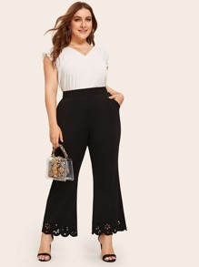 Plus Laser Cut Scallop Flare Leg Pants