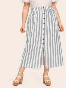 Plus Striped Button Front Split Skirt