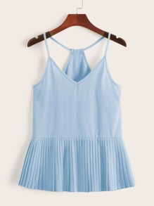 Solid Pleated Hem Chiffon Cami Top