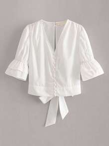Tiered Layer Button Keyhole Tie Back Blouse