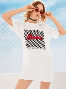 Slogan Graphic Checkered T-shirt Dress