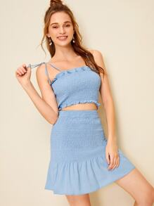 Shirred Frill Trim Cami Top With Ruffle Hem Skirt