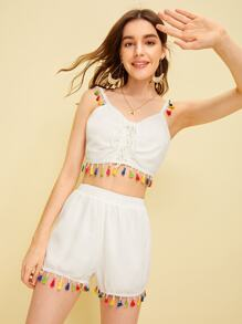 Fringe Trim Lace-up Cami Top With Shorts