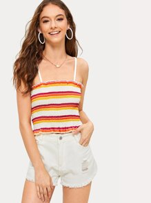 Shirred Frill Trim Striped Cami Top