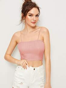 Solid Slim Fit Crop Cami Top
