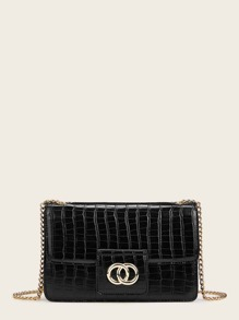 Croc Embossed Chain Strap Crossbody Bag