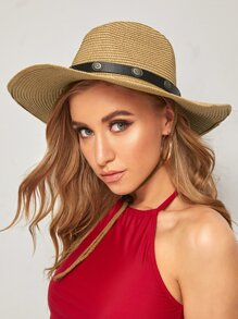 Band Decor Straw Fedora