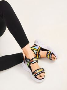Iridescent Panel Open Toe Sandals