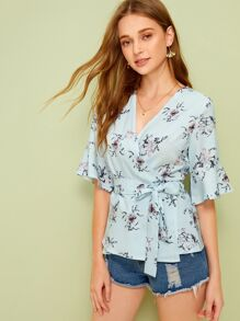 Floral Print Wrap Self Tie Blouse