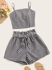 Gingham Tie Back Shirred Cami Top With Belted Paperbag Shorts