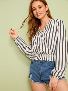 Surplice Striped Shirred Hem Blouse