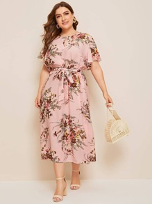 Plus Floral Print Keyhole Front Belted Dress