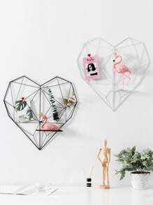 Hollow Iron Heart Shaped Wall Hanging Storage Rack 1pc