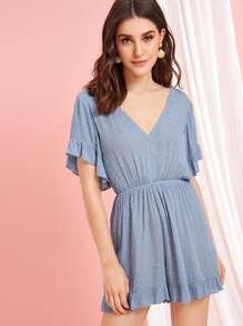 Swiss Dot Ruffle Hem Backless Tie Back Romper
