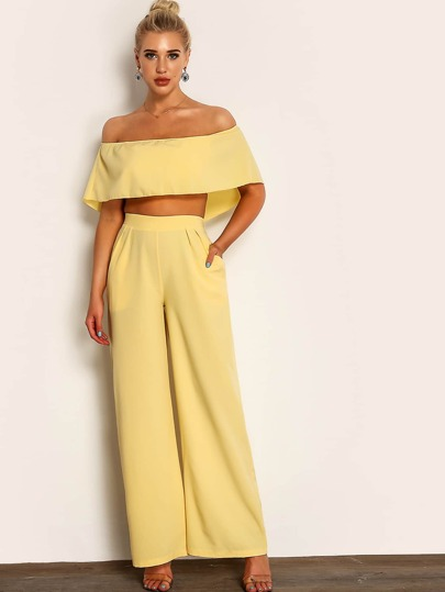19b5eeaa0c7e Joyfunear Solid Crop Cape Top and Wide Leg Pants Set