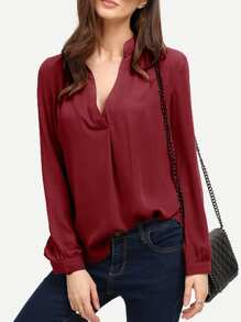 Deep V Neck Curved Hem Blouse