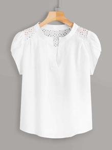 Eyelet Embroidery Petal Sleeve Blouse