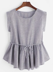 Striped Belted Ruffle Hem Blouse