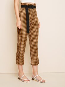 Gingham Belted Paperbag Waist Pants
