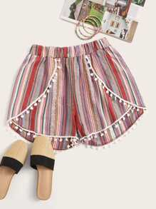 Pom Pom Colorful Striped Shorts