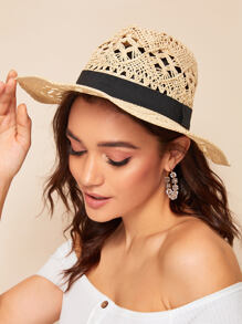 Band Decor Cut Out Straw Hat
