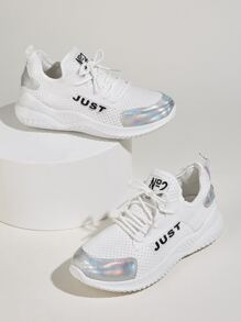 Letter Print Scoop Cut Perforated Trainers