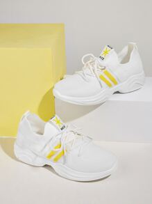 Lace-up Front Striped Detail Trainers